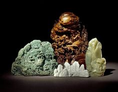 Jade representations of mountains, China, 18th century /  British Museum