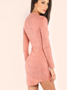 Turn head with The Mock Neck Curved Hem Velvet Bodycon Dress!! Featuring bang on trend suede fabric,a classive mock neckline ,long-sleeved and scoop hems.Kill the look with a pair of strappy lace-up heels for a edgy chic ensemble! #MakeMeChic #MMCstyle #ootd #MMC #style #fashion #newarrivals #summer16 #pastel