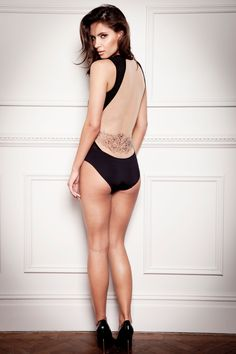 Valentina body (Was £180 Now £90): Designed with fashion lovers in mind this sleek, sexy body accentuates the body's curves to create the perfect silhouette. The smooth shaping fabric streamlines your body to contrast against sheer mesh panels and reveal a backless effect with our signature lower back tattoo print.  Stylists tip: Work the underwear as outerwear look an team this with a sexy pencil skirt! #lingerie #fashion #tatucouture #bodysuit