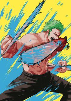 Zoro, One Piece, Chainsaw Man Zoro One Piece, One Piece Fanart, One Piece Manga, One Piece Crossover, Anime Crossover, Roronoa Zoro, Manga Anime, Anime Art, Boca Anime