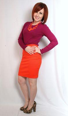 magenta / orange / leopard (I'd have to swap the skirt to magenta & the top to orange but I do have leopard pumps!)