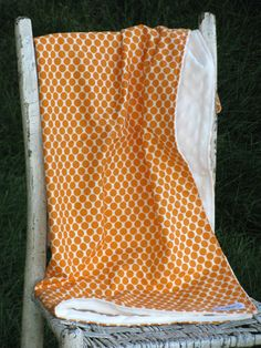 Gender Neutral Minky Baby Blanket - Full Moon Tangerine Orange Dot.