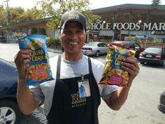 Manager Robert with Cobra Corn's two popcorn snack varieties at Whole Foods Market in Berkeley, California. #Berkeley #wholefoods
