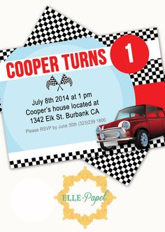 Hey, I found this really awesome Etsy listing at https://www.etsy.com/listing/195541870/printable-invitation-mini-cooper-party