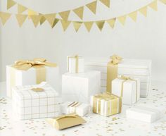 white + gold gift wrapping-- banner out of wrapping paper