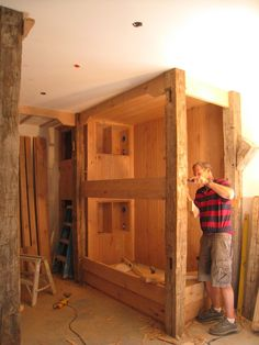 rustic built-in bunk beds