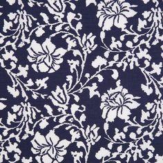 Navy Floral Printed Stretch Cotton Poplin