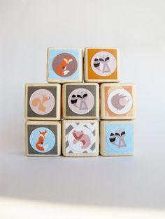 777d48f5e8c3 Wood baby blocks. Retro style. by MiaBooo