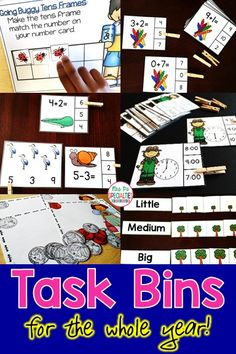Task bin tasks that will cover you for the whole year! These tasks reinforce thematic vocabulary, reading, counting, adding, subtracting, sorting, sequencing, coins, telling time and more!! These work tasks are perfect for special education classrooms, autism programs, autism activities, functional academic programs, life skills classes, hands on learners, and self-contained classrooms.