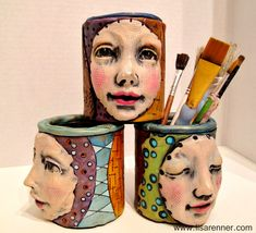 Polymer clay face jars by Lisa Renner Paper Mache Sculpture, Sculpture Art, Paper Clay, Clay Art, Clay Projects, Clay Crafts, Ceramic Clay, Ceramic Pottery, Clay Faces