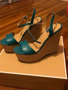 7ae0fa7b91c7 Extra Off Coupon So Cheap Brand New Michael Kors Fisher Leather Wedge  (Turquoise - Size