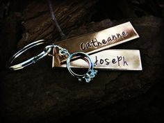 Personalized Tag Hand Stamped Keychain by CharmletteDesigns, $18.00