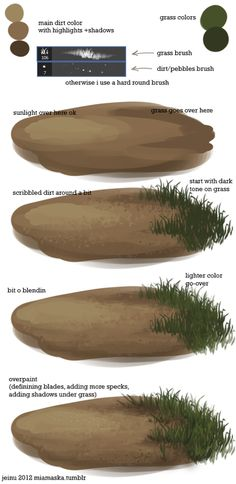 grass tutorial, showing progression form shaded earth to a patch of grass  Find more pin from  http://www.pinterest.com/santopurna
