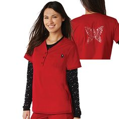 Signature details and a laid-back vibe make the koi Women's Alexis Button V-Neck Solid Scrub Top a must-have. Side pockets and a chest patch pocket make it easy to organize items. #uniquescrubs #funscrubs