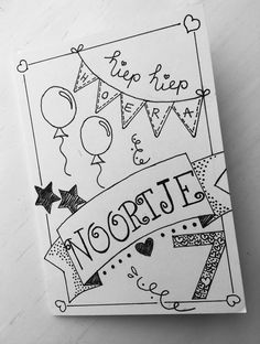 LABEL123 - Verjaardagskaart Noortje Hand Lettering Alphabet, Hand Lettering Quotes, Doodle Lettering, Creative Lettering, Typography, Doodle Drawing, Doodle Art, Bday Cards, Happy Birthday Cards