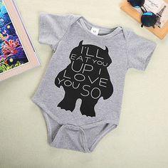 Newborn Baby Girls Boys Monster Organic Romper Outfits 3M 6M 9M 12M Bodys  #Affiliate