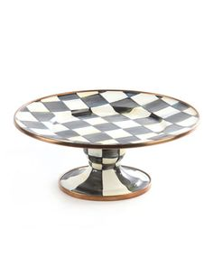 Mini Courtly Check Pedestal Platter by MacKenzie-Childs at Neiman Marcus.