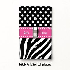This unique light switch plate features a black and white zebra stripes and polka dots design topped by a pink band containing customizable text. https://www.zazzle.com/z/3sbm5&tc=20170220_pint_HD #homedecor #lighting #personalized #StudioDalio #Zazzle