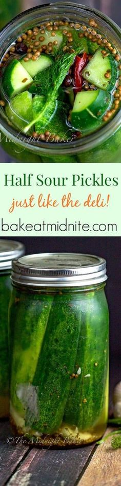 Half Sour Pickles Half sour pickles are a big delicatessen treat, but they're easy to make at home–and cheaper than the store! The best part of any deli visit f Half Sour Pickles, Spicy Pickles, How To Make Pickles, Canning Pickles, Refrigerator Pickles, Homemade Pickles, Pickles Recipe, Canning Recipes, Crockpot Recipes