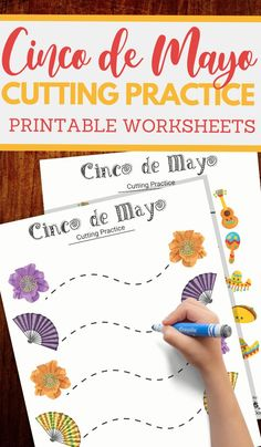 Cinco de Mayo cutting practice worksheets for preschoolers