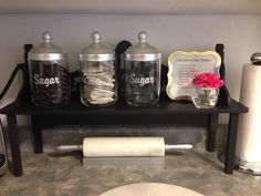Kitchen Counter Shelf with Glass Canisters, A Framed Recipe and Tiny Flower Orb Accent - Designed by Me - All Items from @Jane Cannings Canada