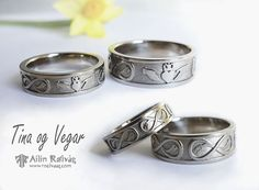 Weddingrings in 14K white gold with a celtic inspired pattern. Made by jewellery designer Ailin Roelvaag. #weddingrings #weddingbands #celtic #dragon #custommade #jewellerydesign