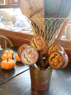 Vintage Halloween Noisemakers ~ Paper Mache Rattle Jack O' Lantern Faces w/ Wooden Handles