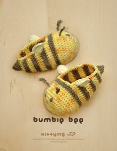 Bumble Bee Baby Booties Crochet