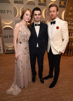 Emma Stone in Valentino, Damien Chazelle, and Ryan Gosling