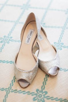 Glamorous Gold, Green & White Wedding | Confetti Daydreams - Gorgeous glittering peep-toe Jimmy Choo heels