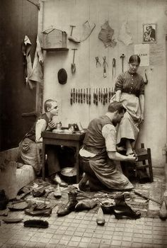 "The shoemaker (late 19th century). Jan Matzeliger, born in 1852, immigrated to the US ""at age 18 and went to work in a shoe factory in Philadelphia. Shoes then were hand made, a slow tedious process. Jan Matzeliger helped revolutionize the shoe industry by developing a shoe lasting machine that would attach the sole to the shoe in one minute."""