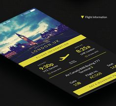 This is PSD template i created for a mock flight information app. Its a simple clean design that includes all the basic needs of a traveler on the go with the boarding pass at your finger tips. PSD file included.
