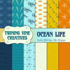 Ocean Life Digital Papers - High Quality - Commercial Use OK! - Handmade Designs - Digital Patterns for Arts & Crafting - Only $2.99 Created by Twining Vine Creatives