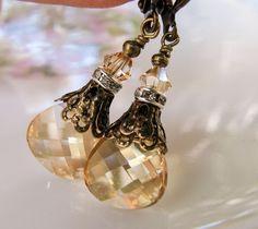 New w/Swarovski Golden Shadow Crystal Flat Briolette Pendant Dangle Earrings #HisJewelsCreationsDesign #DropDangle