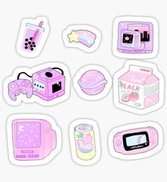 some cute aesthetic stickers to use on your electronics, planner, scrap-booking, letters or whatever! Stickers Kawaii, Anime Stickers, Cool Stickers, Printable Stickers, Laptop Stickers, Journal Stickers, Planner Stickers, Geek Wallpaper, Tumbler Stickers