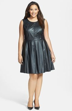 Ivy & Blu Faux Leather Fit & Flare Dress (Plus Size) available at #Nordstrom