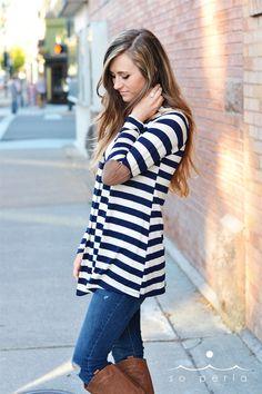 Open Striped Cardigan w Elbow Patch | Jane