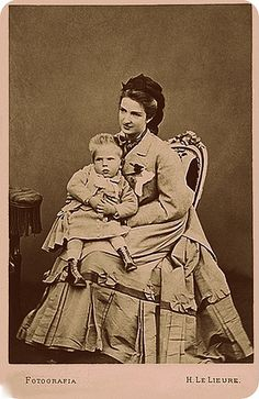 Queen Margherita of Italy with her son Vittorio Emanuele