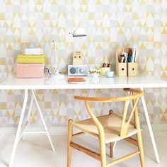 home office decor, kid desk in playroom decor Wallpaper design ideas - oneplustwo design co Office Wallpaper, Kids Wallpaper, Geometric Wallpaper, Room Wallpaper, Wallpaper Paste, Wallpaper Ideas, Home Office Design, Home Office Decor, Swedish Wallpaper