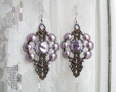 Micro macrame earrings Lilac Glass Pearls Sepia by MartaJewelry