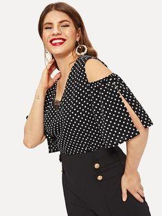 Plus Polka Dot Contrast Lace Cold Shoulder Blouse Black Casual Blouse With White Polka Dots Summer Top – Pop A Button Boutique Plus Size Women's Tops, Plus Size Blouses, Polka Dot Blouse, Polka Dots, Cold Shoulder Blouse, Mode Hijab, Lace Sleeves, Plus Size Fashion, Fashion News