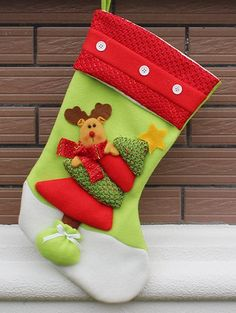 Xmas Tree Decor Hanging Elk Christmas Gift Stocking Bag - RED AND GREEN