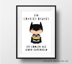 "═══════════════════════════════════════════════════════════════════════════════  **Kinderzimmer Wandbild ""großer Bruder = Superheld""**  1 Kunstdruck DIN A4 (ca. 210 x 297..."