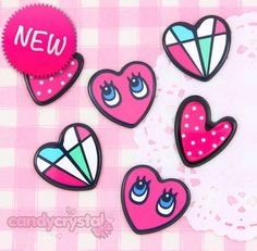 Kitsch Emo Hearts Resin #Cabochon Embellishments #Decoden #Kawaii #Craft. #Jewelry
