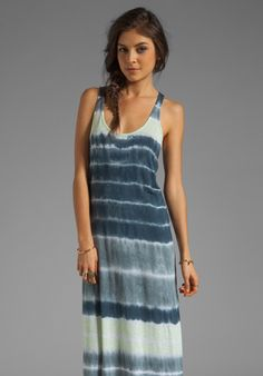 Velvet x Lily Aldridge Laura Tie Dye Maxi Dress in Aquamarine