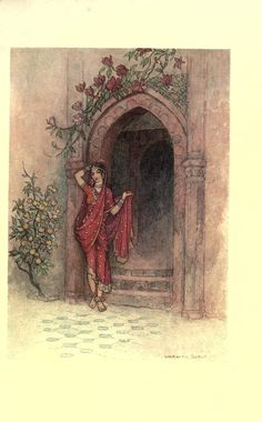 "Folk-tales of Bengal 1912  Illustrations by Warwick Goble    ""At the door of which stood a lady of exquisite beauty."""