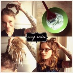 Tutorial! Neat Ombre technique where you put your hair in a high ponytail before applying bleach. Via How To Hair Girl