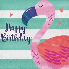 Striped Tropical Birthday Lunch Napkins feature a fabulous flamingo and a 'Happy Birthday' headline against a pink and blue-striped background. These paper napkins are perfect for your tropical party. Happy Birthday Flamingo, Happy Birthday Sister, Happy Birthday Parties, Happy Birthday Quotes, Happy Birthday Images, Happy Birthday Greetings, Birthday Party Themes, Birthday Wishes, Birthday Lunch