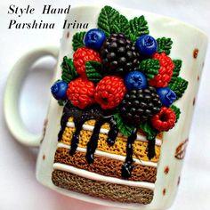 Чашка с кексом, чашка с декором из полимерной глины, вкусная чашка, кружка с декором производства мастера Style Hand Parshina Irina на платформе Crafta. Купить хенд мейд Чашка с кексом, чашка с декором из полимерной глины, вкусная чашка, кружка с декором в Украине из первых рук.