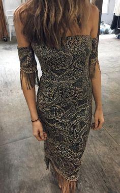#winter #fashion /  Black Printed Off Shoulder Dress